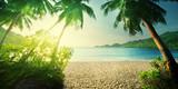 sunset on Seychelles beach - 128753090