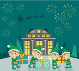 Winter Holidays Vector Concept in Flat Design