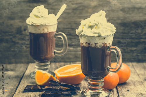 Poster Chocolade Hot chocolate cup with whipped cream, dessert, drink for christmas
