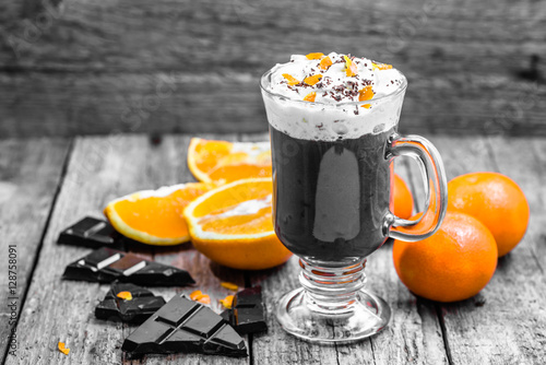 Poster Hot chocolate drink with whipped cream, cup of dessert