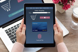 woman hands holding tablet online shopping touch and pay noteboo
