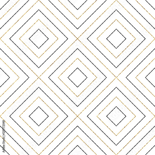 Geometric seamless black and gold pattern of diagonal lines or strokes, abstract background of golden shiny and black rhombus, square, vector for paper, card, invitation, wrapping, textile, web design - 128772048