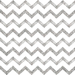 Seamless pattern of silver glitter zigzag chevron, silvern background of zig zag stripe, hand painted vector design for textile, wallpaper, web, wrapping, save the date, wedding, card, paper