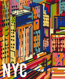 Fototapety New York. Abstract colorful hand drawn night city landscape. Vector illustration in pop art style