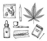 Hand drawn vintage vector illustration - Medical cannabis.
