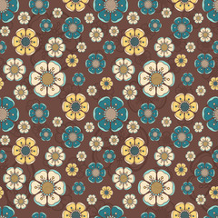 Fashion pattern with flowers in retro colors