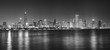 Black and white night panoramic picture of Chicago city skyline, USA.