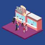 Isometric flat 3D vector interior of cinema theater box office