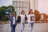 three beautiful girls on walk