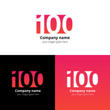 100 logo icon flat and vector design template. Monogram years numbers one and zero. Logotype one hundred with red-pink gradient color. Creative vision concept logo, elements, sign, symbol for card.