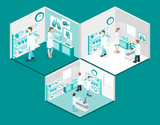 Isometric flat 3D concept vector interior of science laboratory.