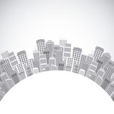 silhoutte of city urban in circular shape over white background. vector illustration