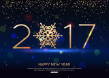 Happy New Year 2017 blue background