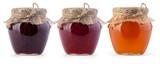 Fototapety Three jar of jam and honey
