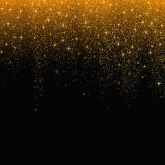 Gold glitter stardust background. Vector illustration