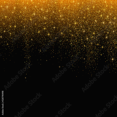Gold glitter stardust background. Vector illustration