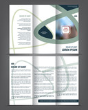 Vector tri fold brochure template design, concept business leaflet, 3 folded blue vector flyer layout