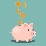 Saving money - vector illustration - 128801219