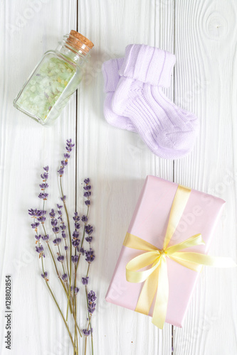 baby bath salt with lavender on wooden background