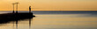 Silhouette of fisherman fishing sea fish at summer dawn