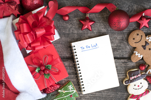 Poster To do list in notebook with christmas background