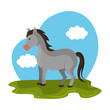 horse animal farm in the field vector illustration design