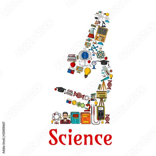 Science symbol in shape of microscope