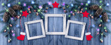 Christmas background with photo frame, illumination, glowing sta