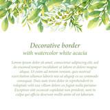 Decorative border with watercolor white acacia - 128832214