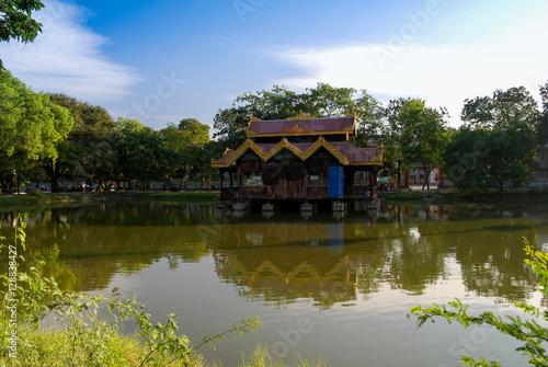 Poster View to Gazebo along pond in Mandalay, Myanmar