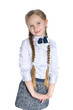 Smiling schoolgirl against the white