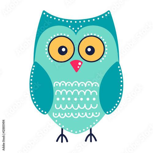 Cute green owl. Vector hand drawn flat bird with white ornament. Bright color owl for kids design. Isolated. On white background.