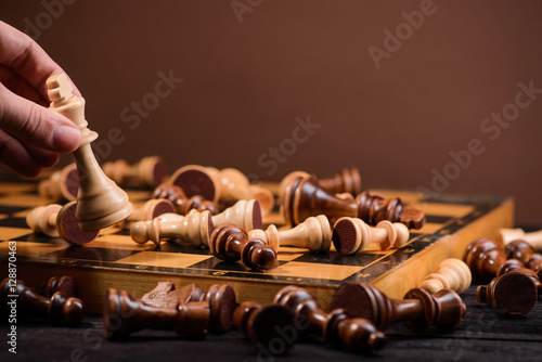 Poster man play chess game