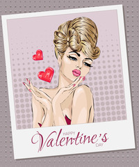 Valentines Day Card Pin-up sexy woman sending air kiss with hearts