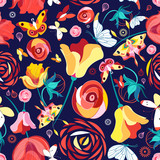 Flower pattern and butterflies