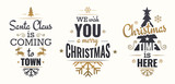 Merry christmas set of gold lettering, with caligraphic letters, text and decoration, collection of christmas vector illustration for postcard, banner and wish card - 128874682