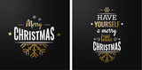 Merry christmas set of luxury gold lettering, with caligraphic letters, text and decoration, collection of premium christmas vector illustration for postcard, banner and wish card - 128874807