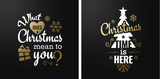 Merry christmas set of luxury gold lettering, with caligraphic letters, text and decoration, collection of premium christmas vector illustration for postcard, banner and wish card - 128874886