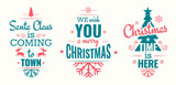 Merry christmas set of modern lettering in turquoise and pink, with trendy colors, text and decoration, collection of premium vector illustration for christmas postcard, banner and wish card - 128875027