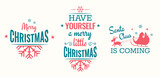 Merry christmas set of modern lettering in turquoise and pink, with trendy colors, text and decoration, collection of premium vector illustration for christmas postcard, banner and wish card - 128875065