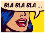 Popart w stylu komiksów panelu z dziewczynka rozmawiać nonsens Mały gadać mówić w dymka wektor plakat projektowania ilustracji
