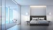3d rendering Bedroom villa sea view and sky