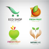 Vector set of eco food, organic, green logos. Fresh fruit