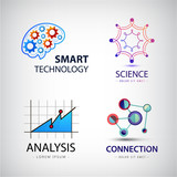 Vector set of science, analysis, chemistry, atom connection, technology logo .