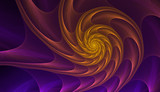Abstract fractal gold and purple nautilus shell spiral. An amazing fibonacci pattern in a sea shell. Golden spiral. Computer generated image.