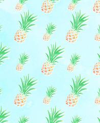 Pineapple pattern on blue background,hand drawing.
