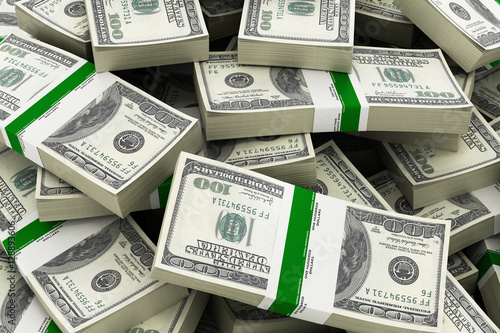 Background with money american hundred dollar bills 3d