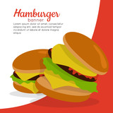 Gamburger Banner. Hamburger with Meat. Junk Food