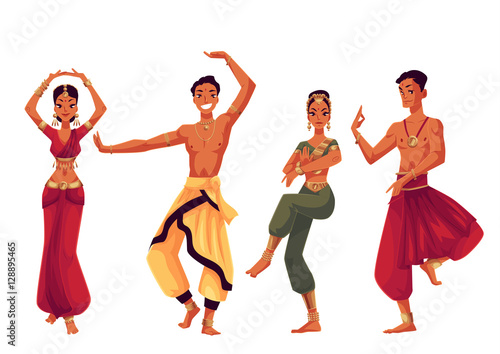 In de dag Indiërs Indian dancers in traditional costumes, cartoon vector illustration isolated on white background. Traditional Indian male and female dancers in national costumes, sari, harem pants, Bollywood