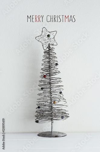 Poster christmas tree and text merry christmas